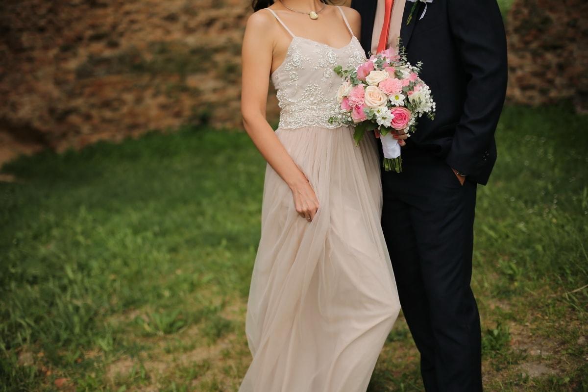 nature, bouquet, bride, love, groom, engagement, dress, wedding, woman, fashion