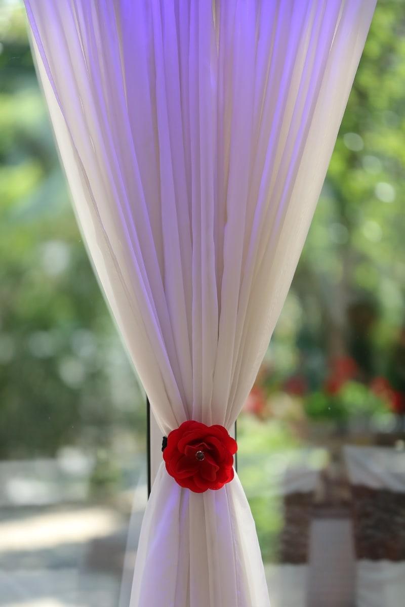 fantaisie, soie, rideau, élégant, fenêtre, blanc, fleur, brillant, herbe, contemporain