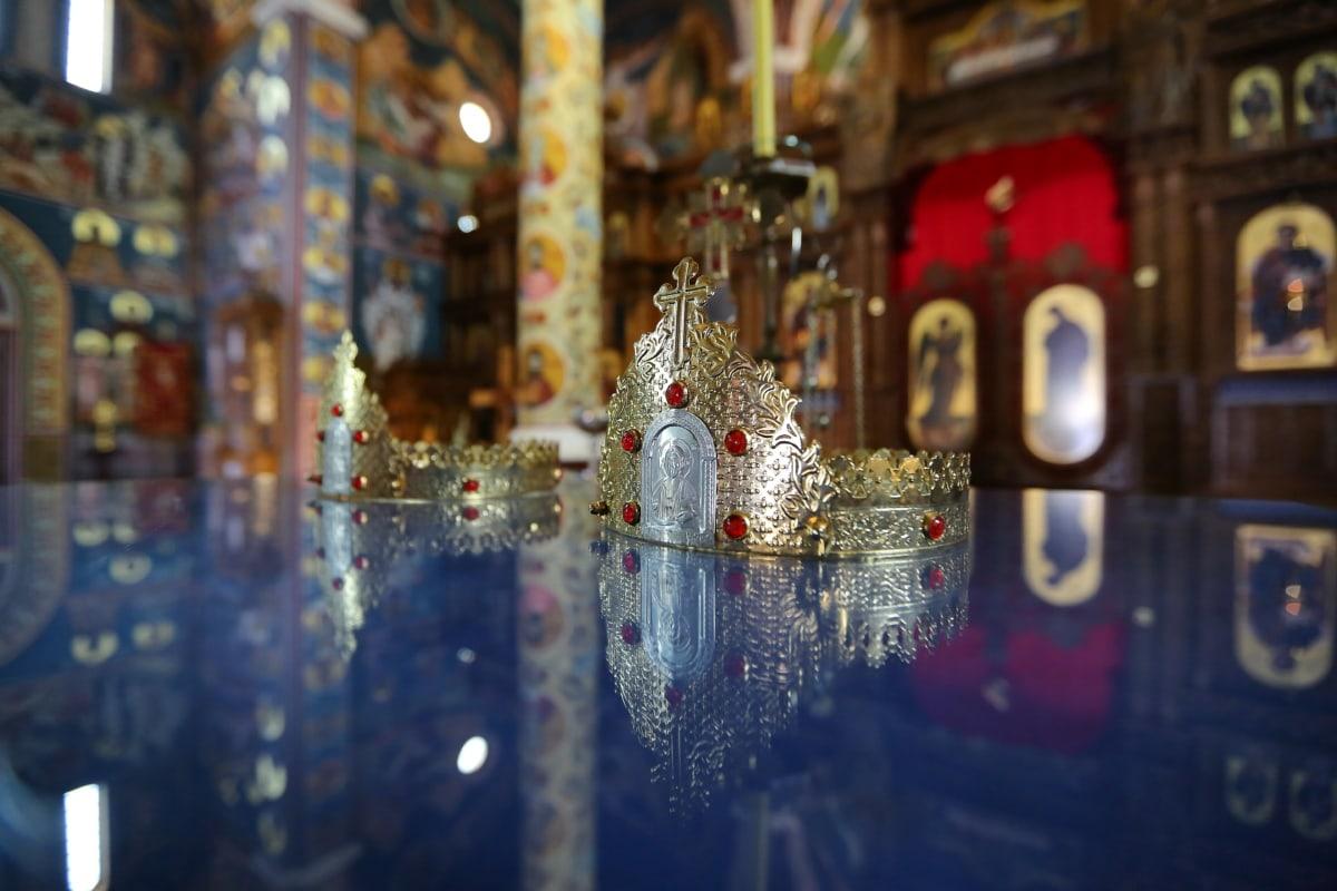 Christian, Couronne, couronnement, éclat doré, à l'intérieur, Or, Temple, architecture, art, religion