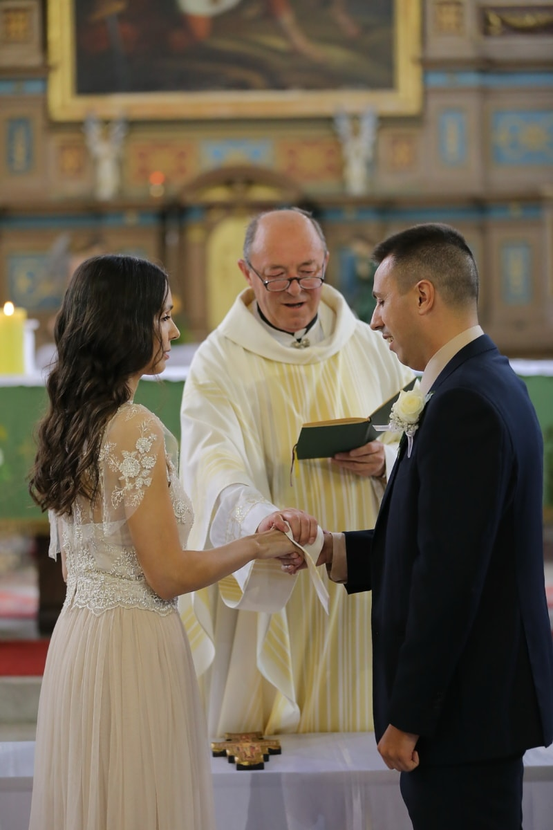 catholic, wedding, bride, groom, spirituality, christianity, priest, church, woman, people