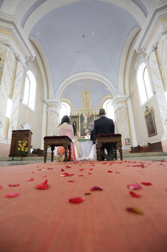 Katholieke, bruiloft, peetvader, bruid, bruidegom, gebouw, het platform, kerk, Kathedraal, religie