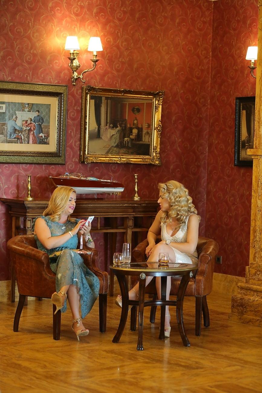Woonkamer, zin in hebben, praten, vrouwen, gesprek, vrolijke, stoel, interieur, stoel, kamer