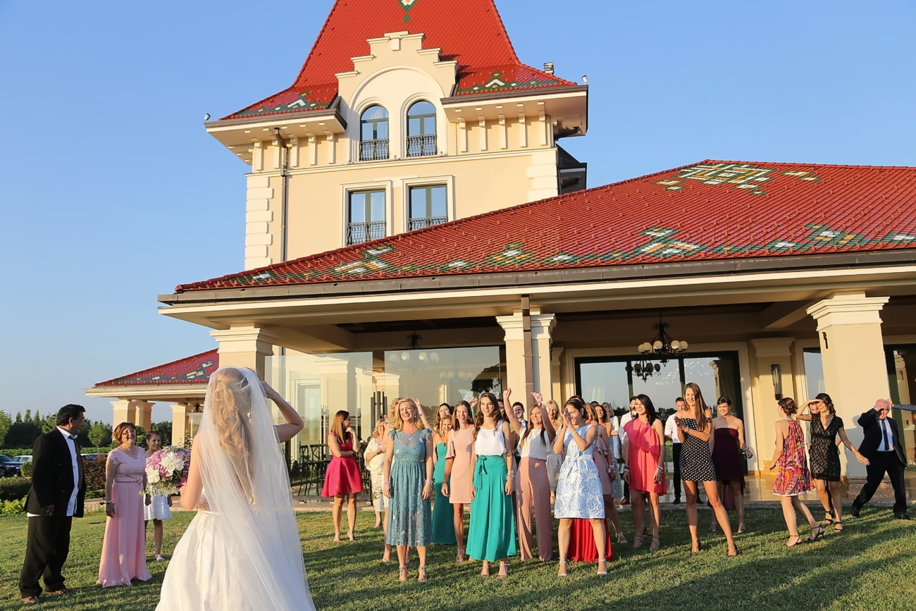 friendship, bride, friends, girls, people, wedding, woman, architecture, group, house