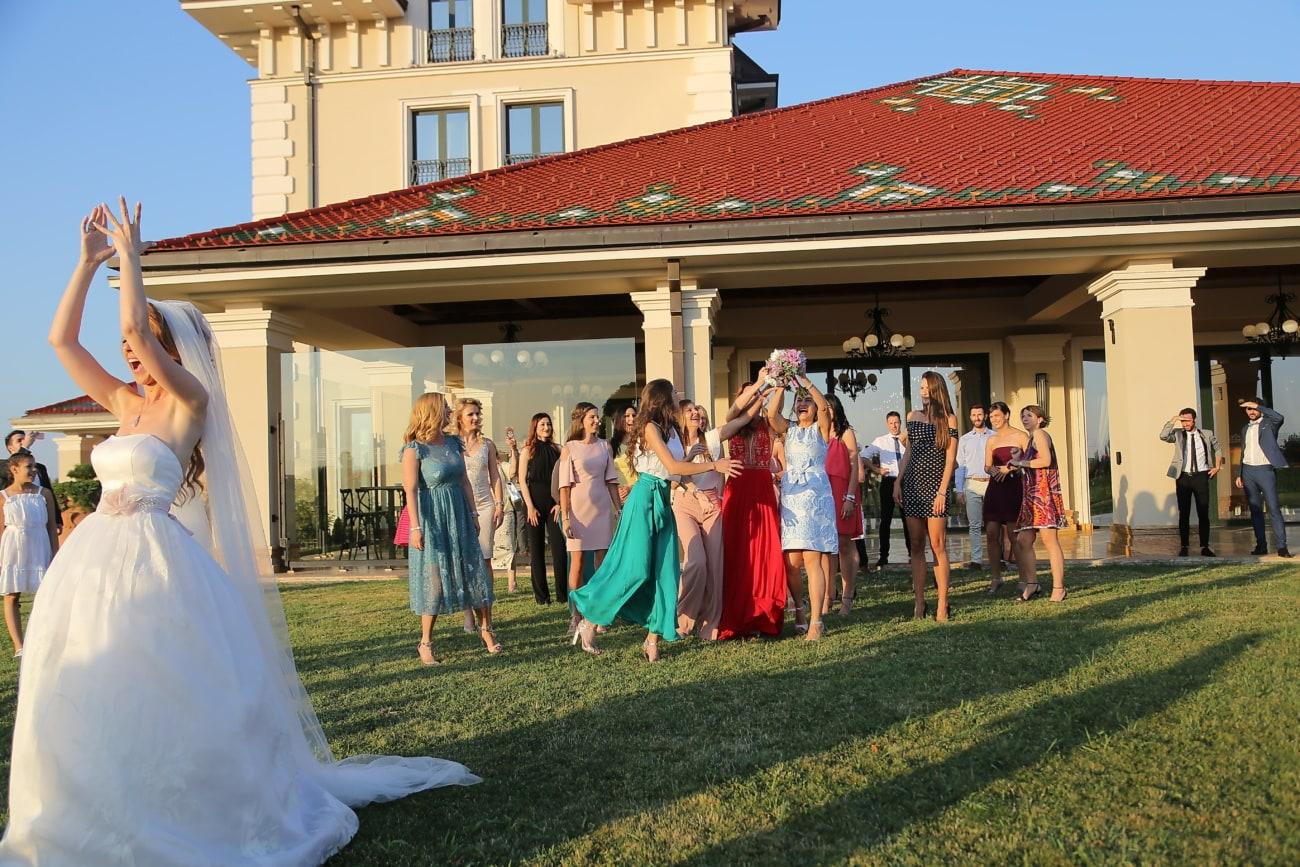 menigte, vriendin, bruidsboeket, bruid, vriendschap, meisjes, vrienden, mooi meisje, bruiloft, mensen