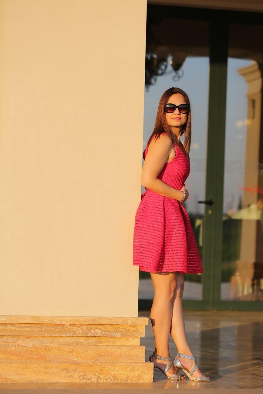 posing, brunette, standing, red, dress, woman, fashion, girl, portrait, model