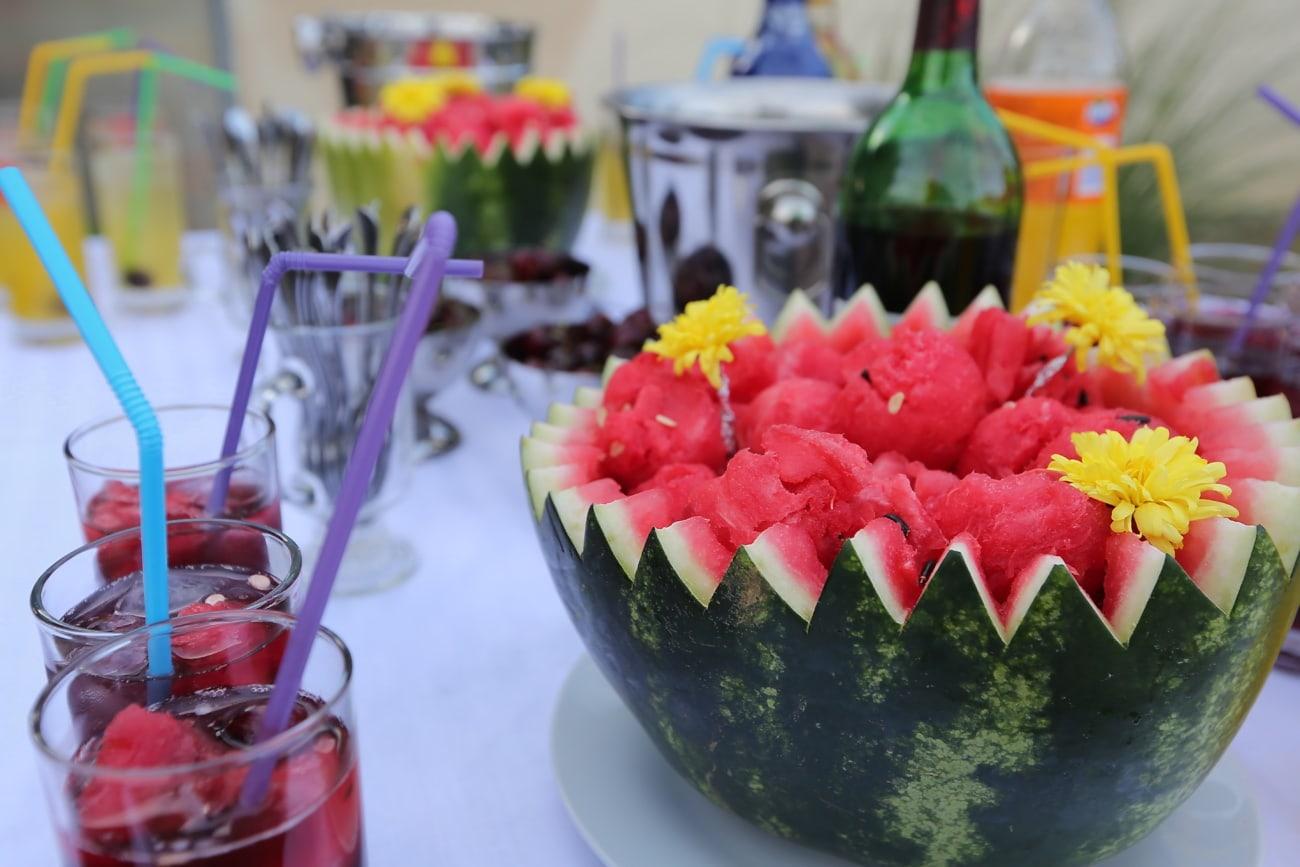 cocktails, melon d'eau, décoratifs, boisson, boisson, verre, jus de, fruits, melon, nutrition