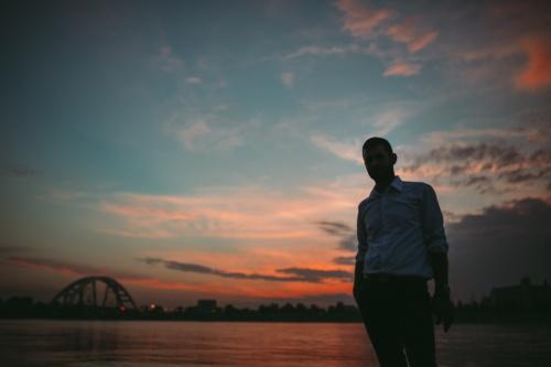 stehende, Geschäftsmann, Schatten, Silhouette, Sonnenuntergang, Dämmerung, Wasser, Sonne, Sonnenaufgang, Dämmerung
