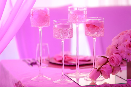 candlestick, candles, romantic, pinkish, glass, roses, bouquet, pink, elegant, romance