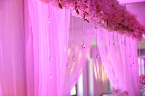 pinkish, curtain, wedding venue, hanging, crystal, pink, flower, bright, elegant, wedding