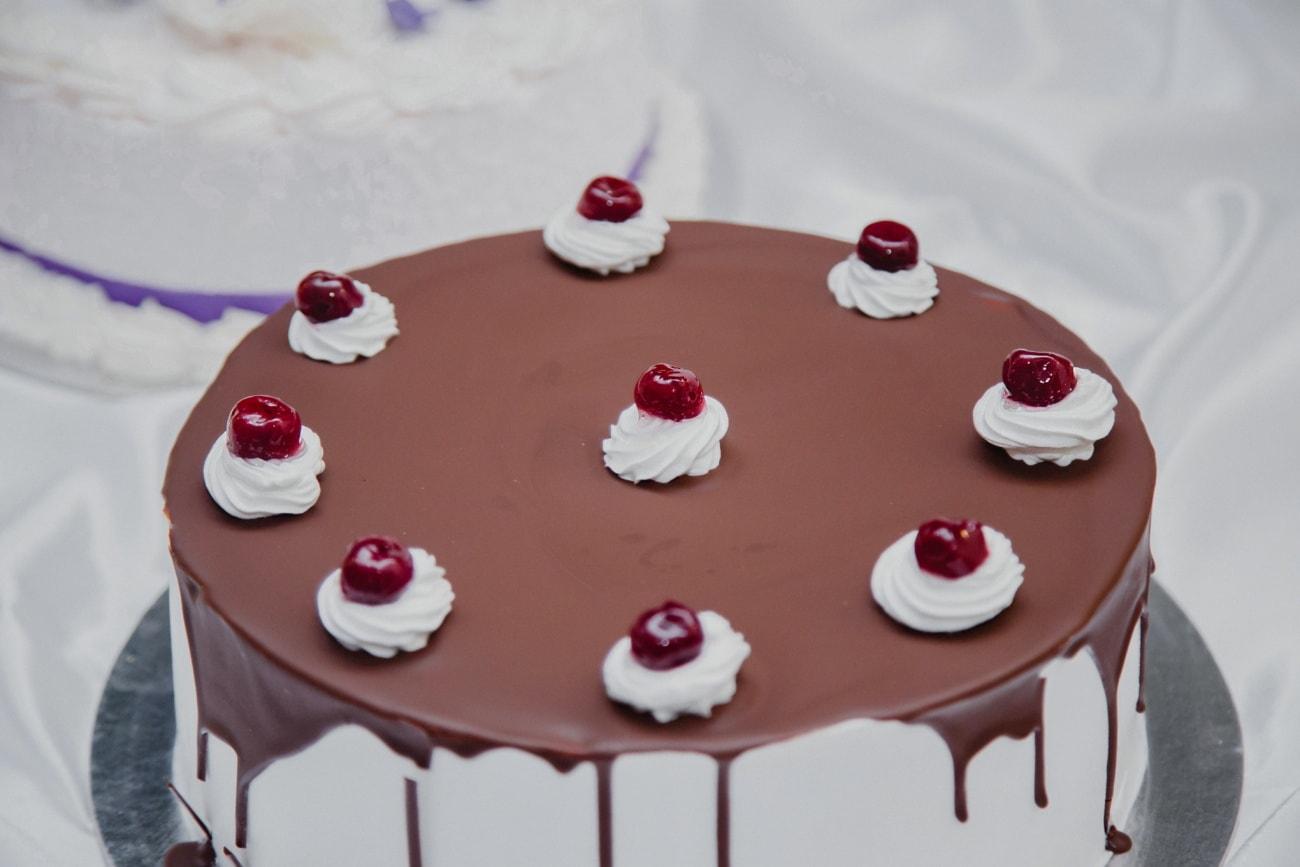 cherries, delicious, handmade, dessert, chocolate cake, cake, elegant, cream, stool, sweet