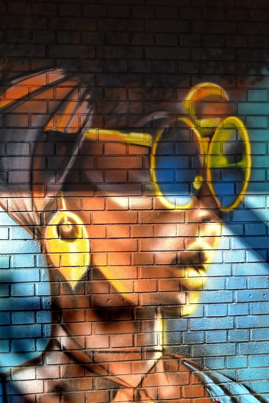 Graffiti, ung kvinne, vakker, pen jente, Afrika, vegg, abstrakt, design, mønster, farge