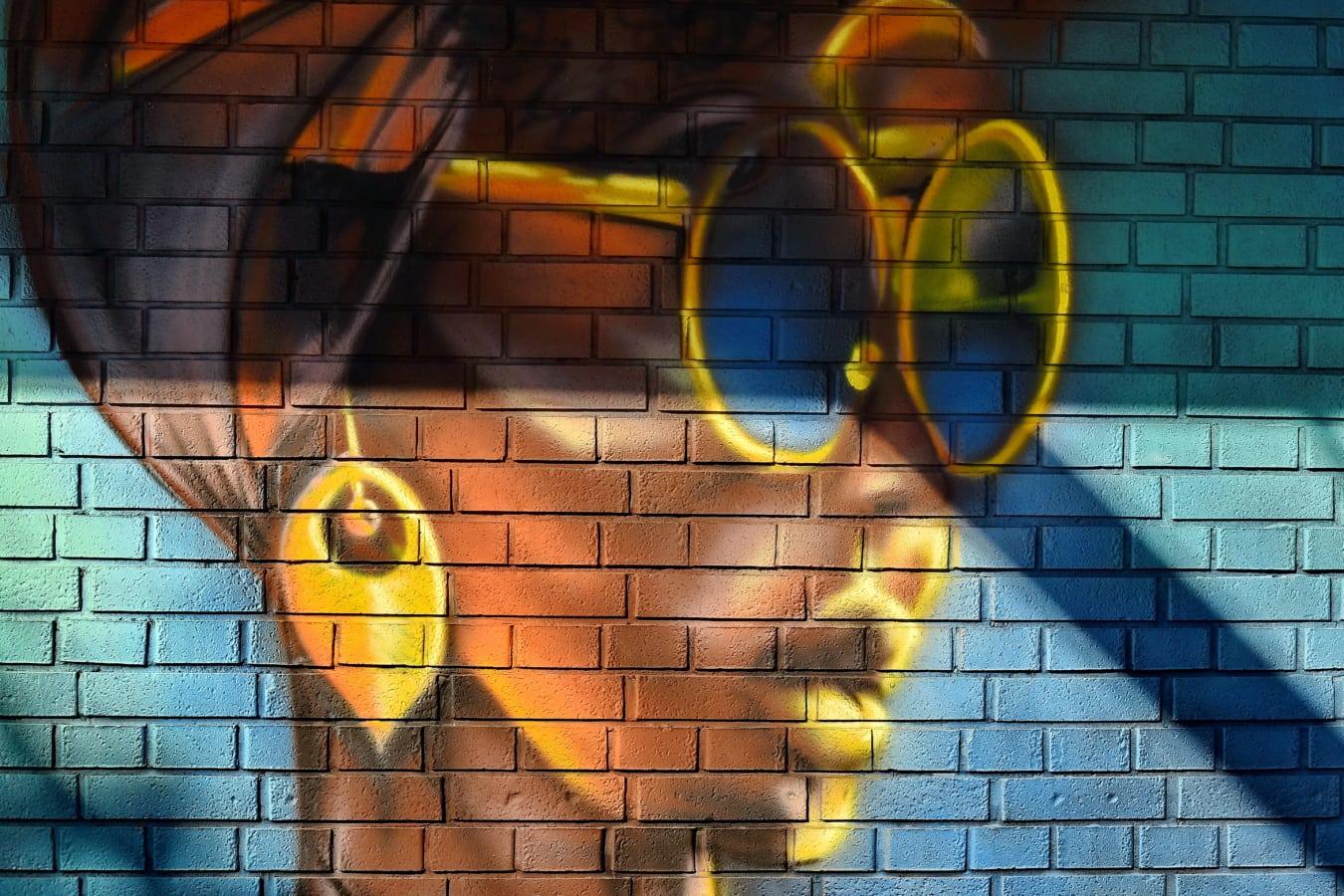 pen jente, nydelig, afrikanske, ansikt, Graffiti, stående, vegg, design, mønster, abstrakt