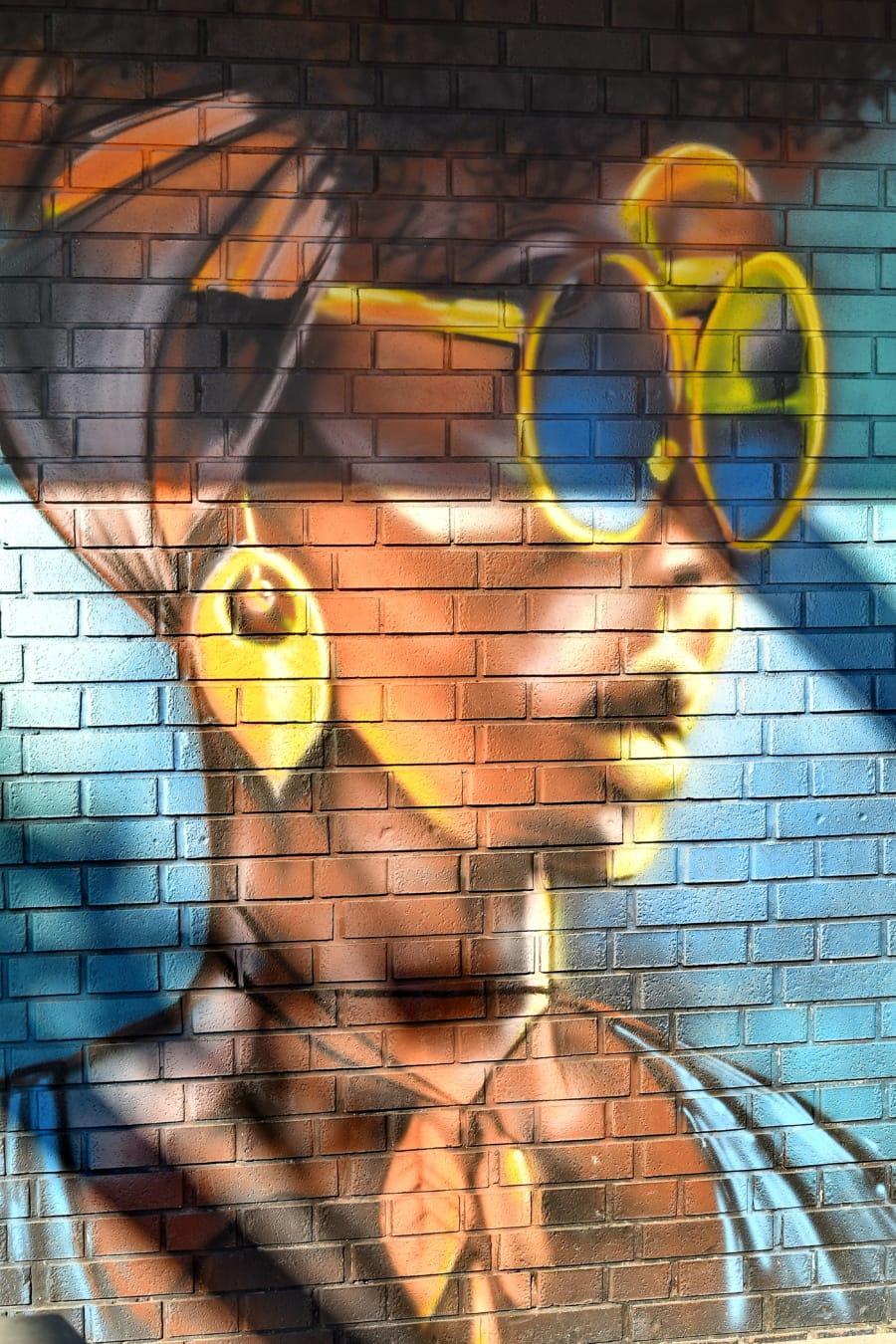 graffiti, bricks, young woman, wall, abstract, design, pattern, texture, art, color