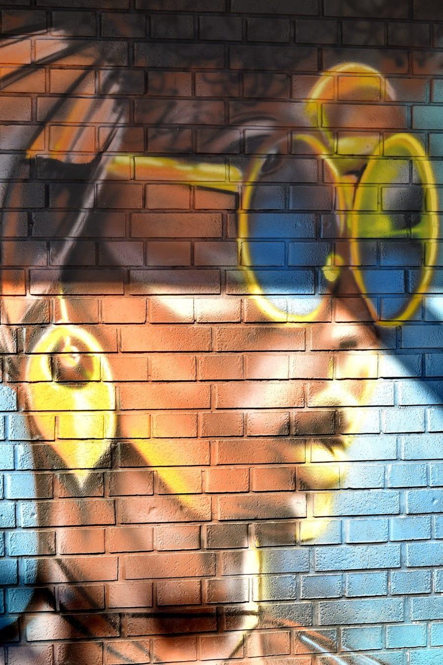 graffiti, eyeglasses, summer time, portrait, face, colorful, bricks, wall, decoration, urban