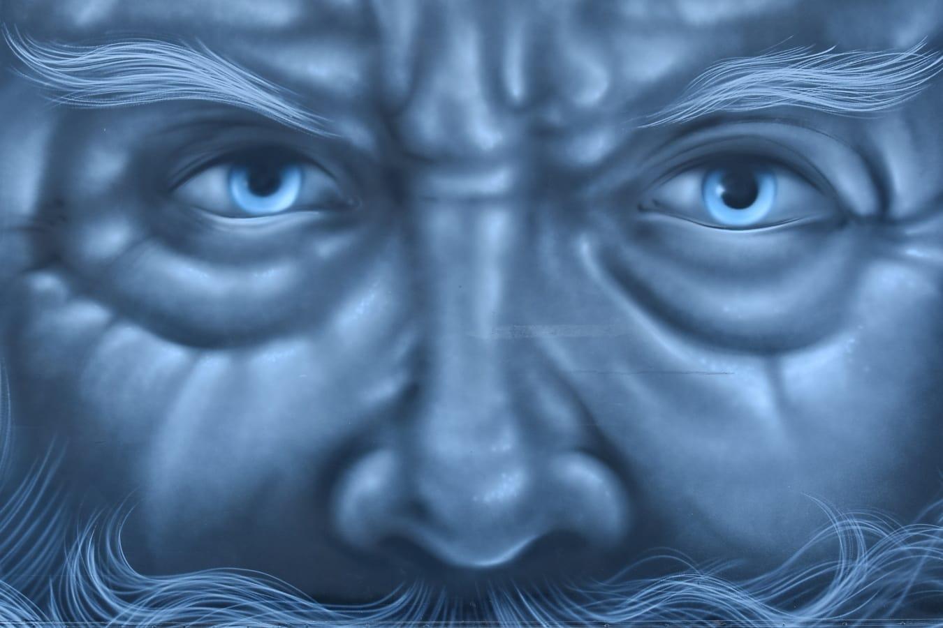 grafiti, portret, lice, stariji, oči, nestvarno, oko, umjetnost, pokrivanje, fantazija