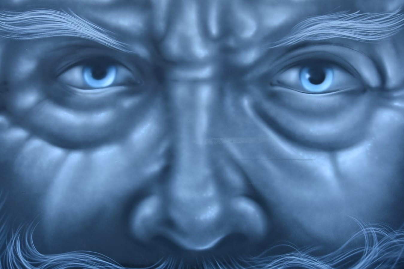 Alter Mann, Gesicht, Graffiti, Porträt, aus nächster Nähe, Blau, Augen, Kunst, Auge, abstrakt
