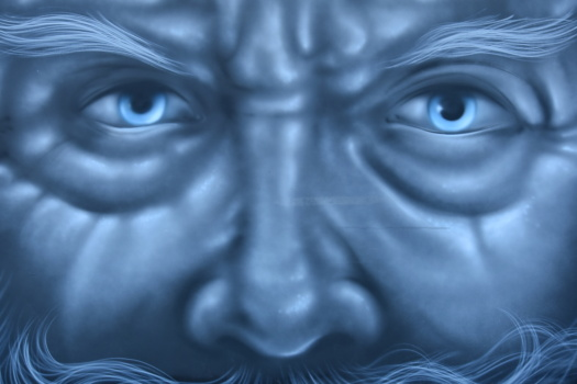 old man, face, graffiti, portrait, close-up, blue, eyes, art, eye, abstract