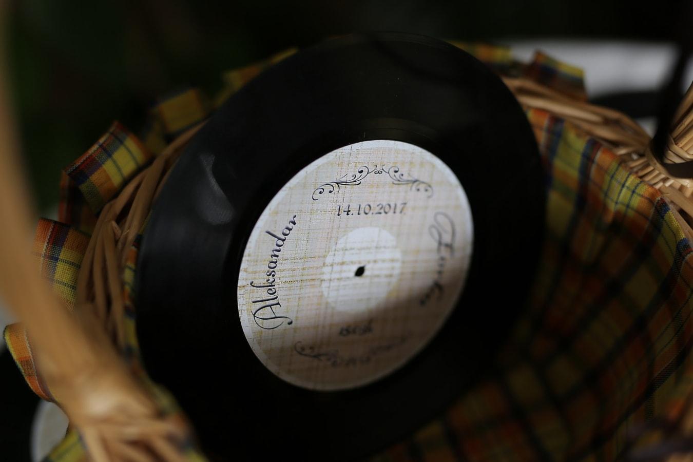old, vinyl plate, music, wicker basket, memorabilia, nostalgia, blur, indoors, retro, vintage