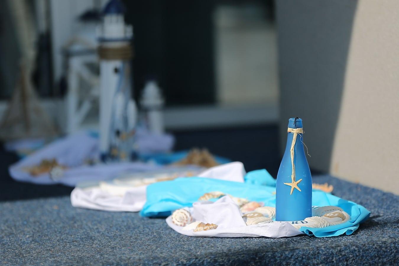 blue, bottle, seashell, handmade, still life, summer season, table, decoration