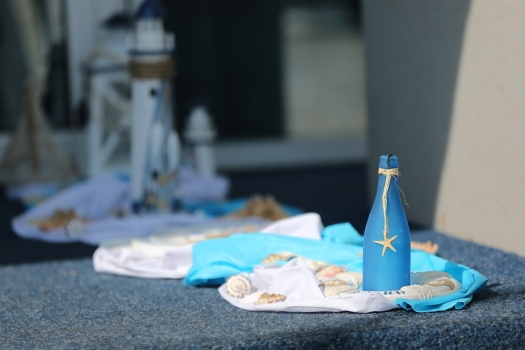 blue, bottle, seashell, handmade, still life, summer season, table, decoration