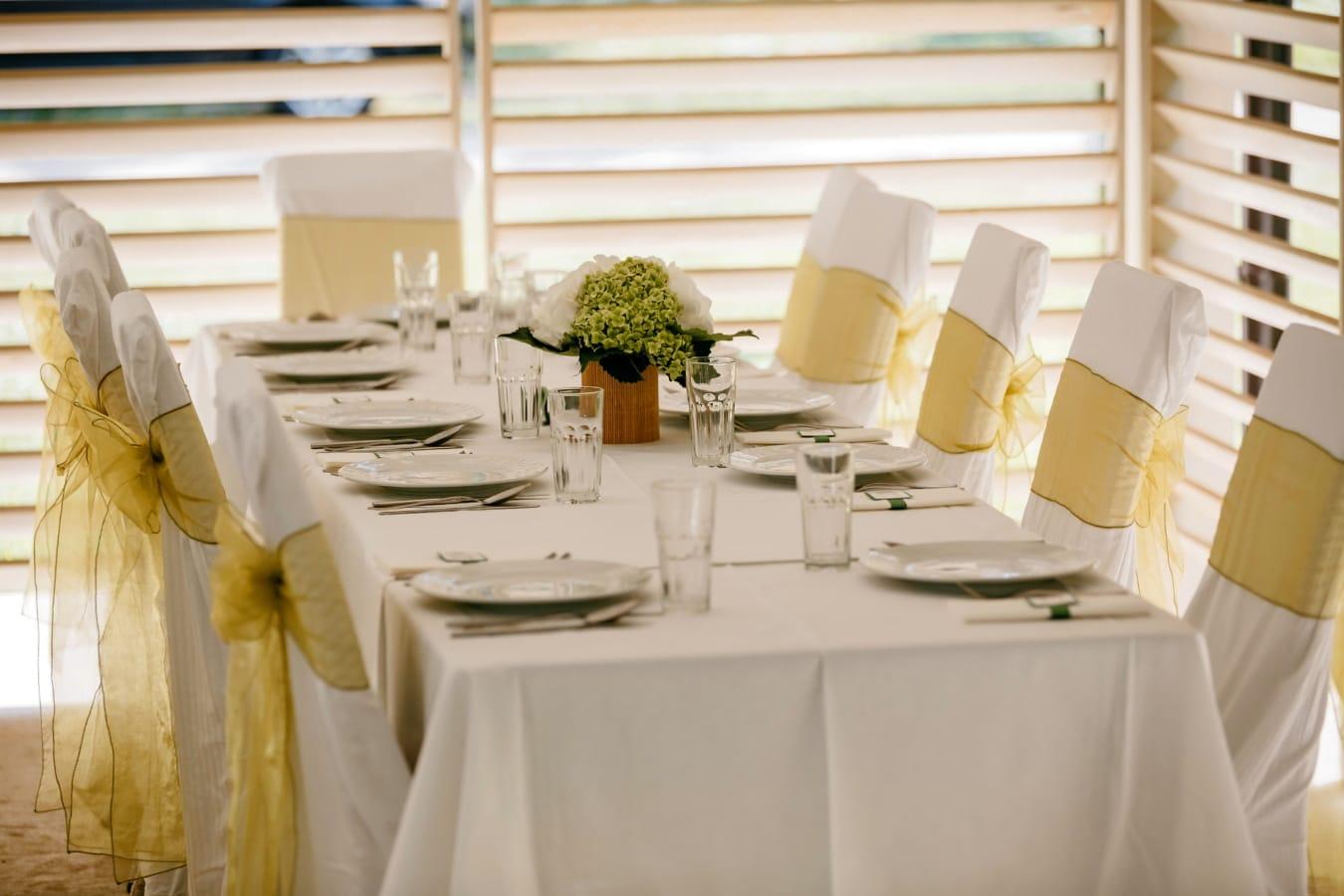 Tabelle, Stühle, elegant, Tischdecke, leere, Luxus, Interieur-design, Möbel, Haus, Dekor