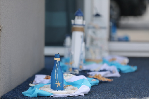 bottle, blue, seashell, miniature, starfish, decoration, lighthouse, still life, indoors, table