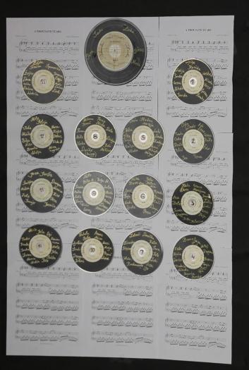 nostalgie, vinylplaat, papier, melodie, muziek, schijf, opmerking, Retro, wijnoogst, nummer