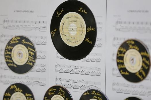 vieux, Retro, mélodie, disque vinyle, musique, nombre, imprimer, papier, vintage, texte