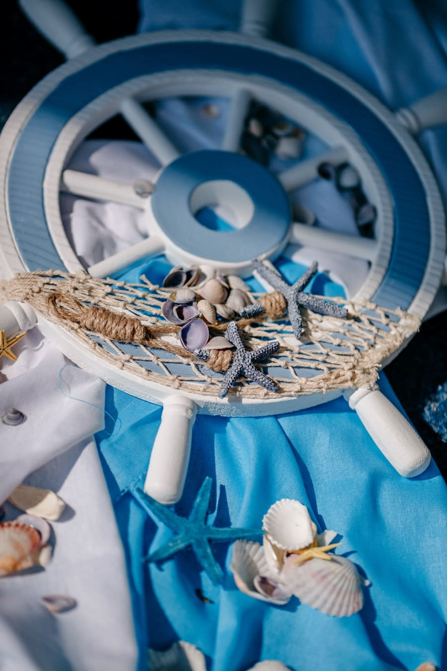 still life, azure, starfish, marine, seashell, decoration, rope, indoors, traditional, object