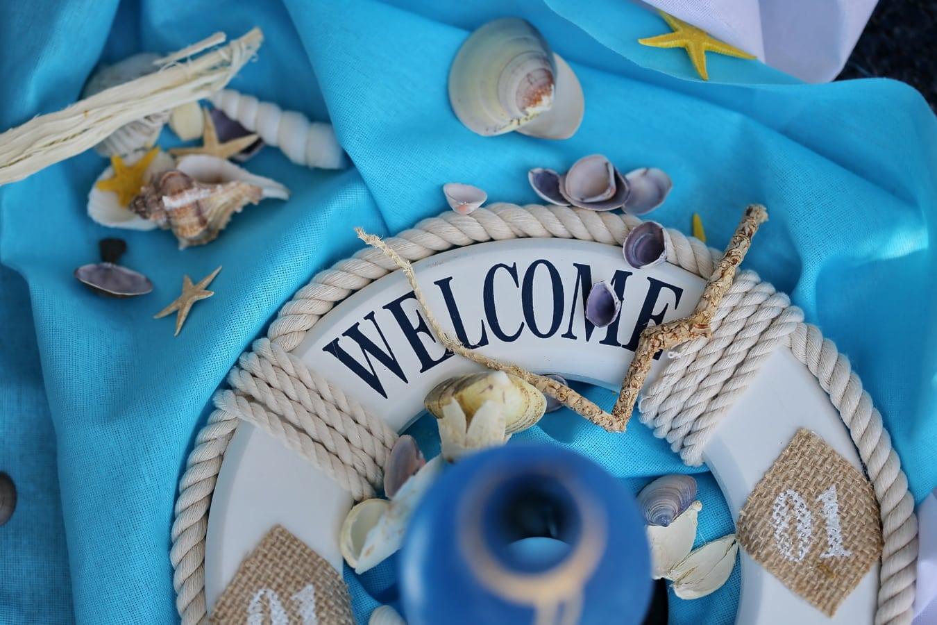 nature morte, bienvenue, gilet de sauvetage, coquillage, conception, bleu, décoration d'intérieur, traditionnel, fait main, coton