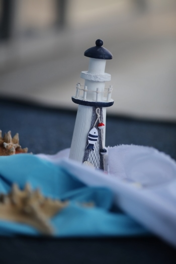 still life, handmade, lighthouse, toy, seashell, blur, detail, beacon, blue, decoration