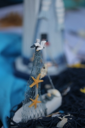 object, handmade, starfish, figurine, decoration, boat, detail, rope, ship, blur