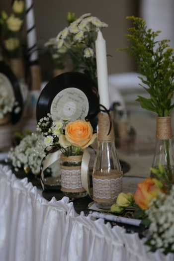 decorative, arrangement, vinyl plate, nostalgia, candle, bottles, candlestick, wedding, bouquet, flower