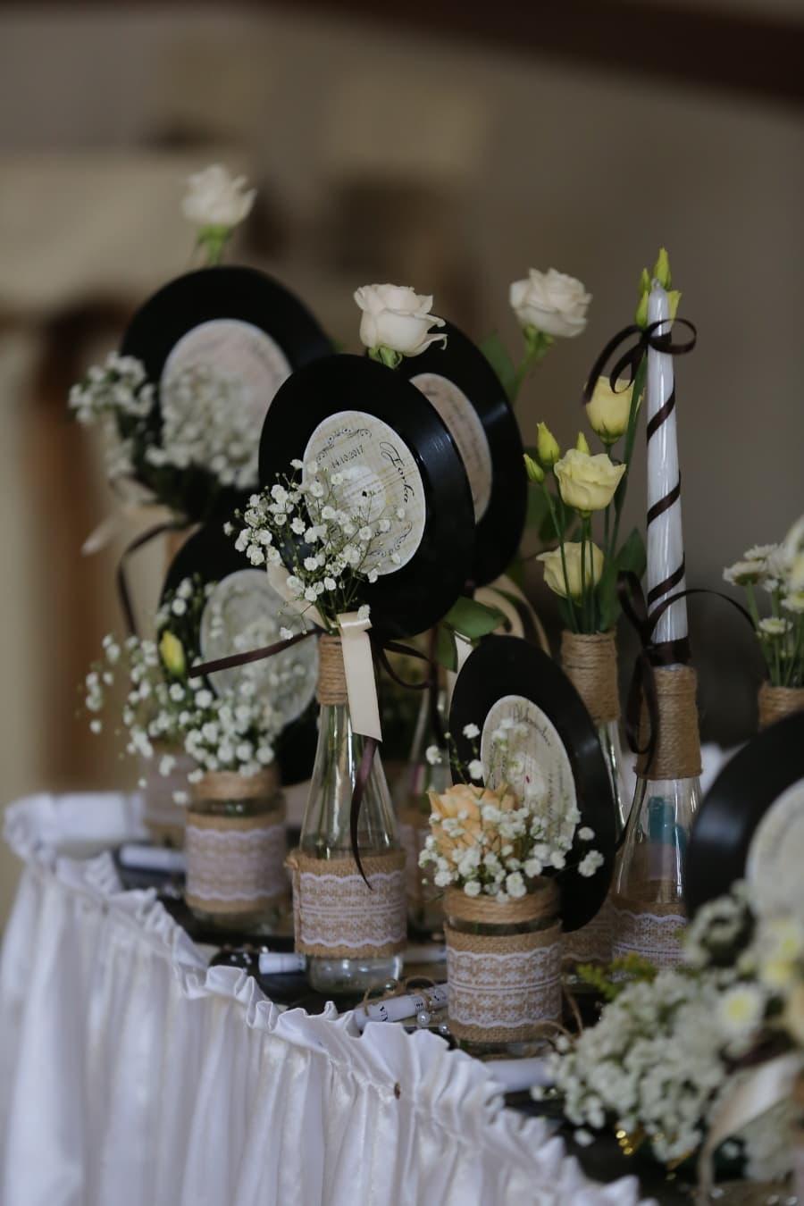 décoration, disque vinyle, nostalgie, fleur, vase, élégant, à l'intérieur, luxe, Design d'intérieur, nature morte