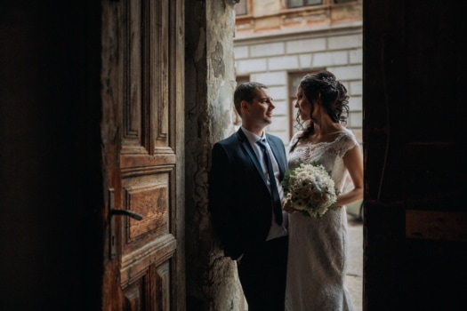 front door, entrance, shadow, just married, groom, bride, woman, wedding, man, people