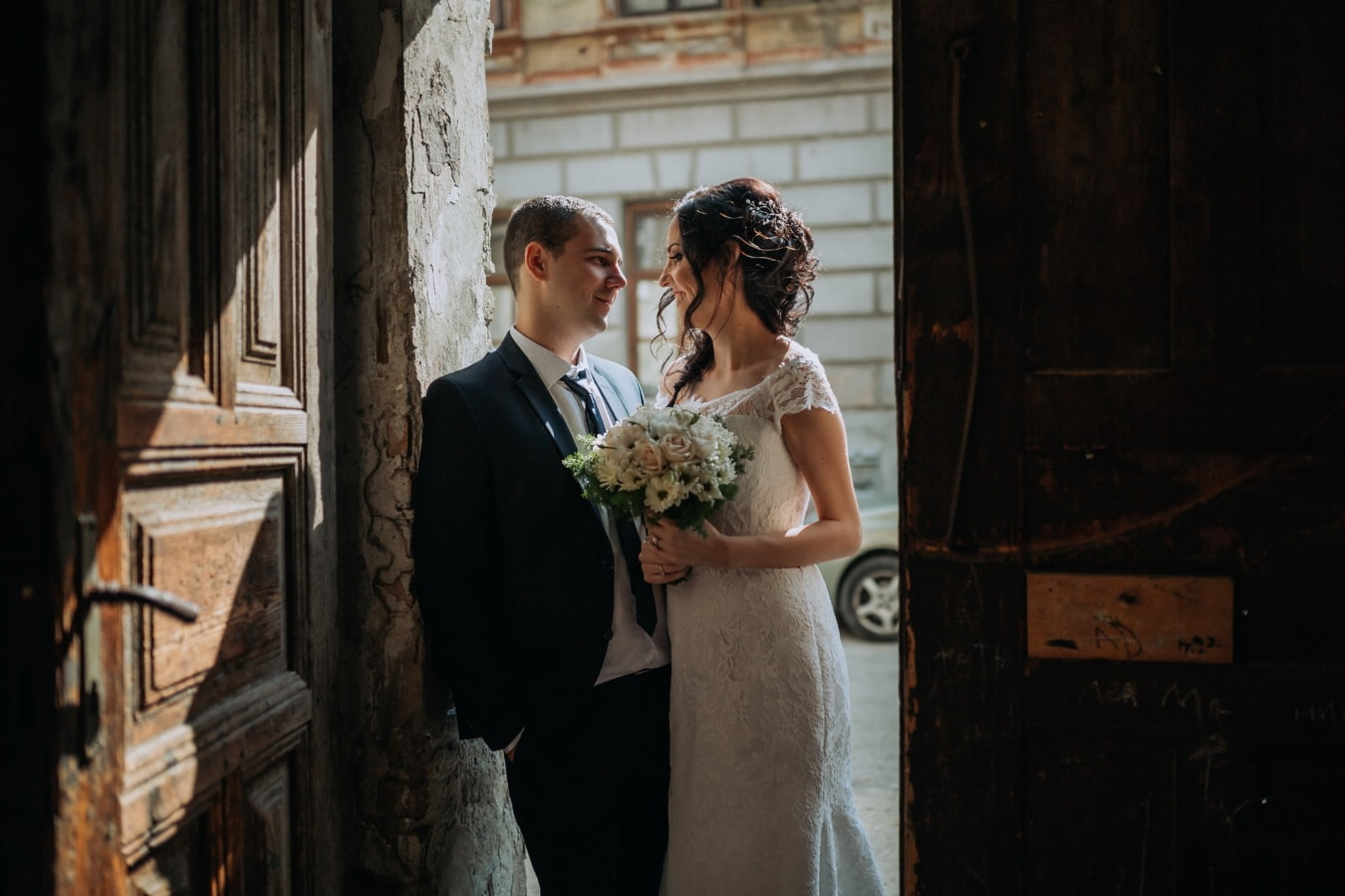 съпруг, младоженци, жена, вход, порта, сватба, Любов, жена, двойка, младоженец