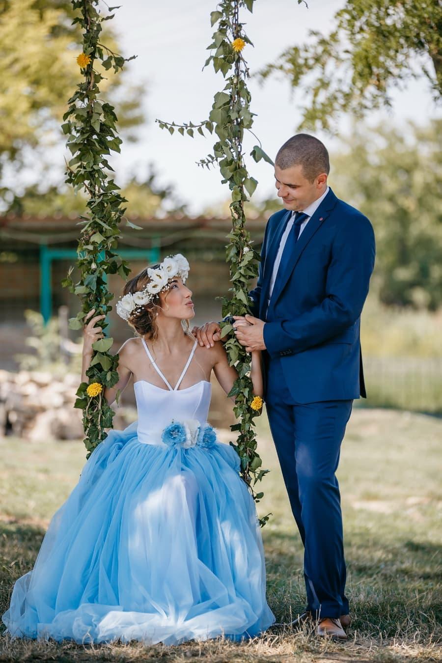 newlyweds, countryside, swing, fashion, bride, dress, groom, marriage, wedding, love