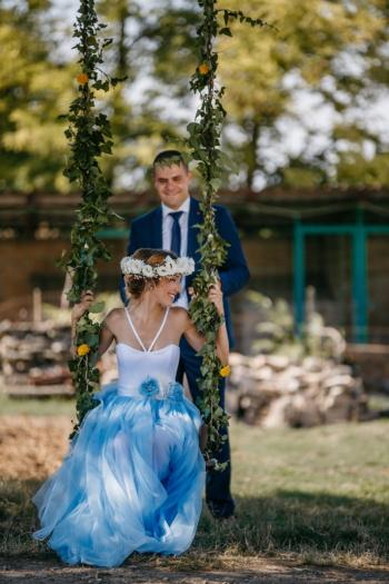 jeunes mariés, jouissance, bonheur, petite amie, femme, homme, petit ami, robe, la mariée, mode