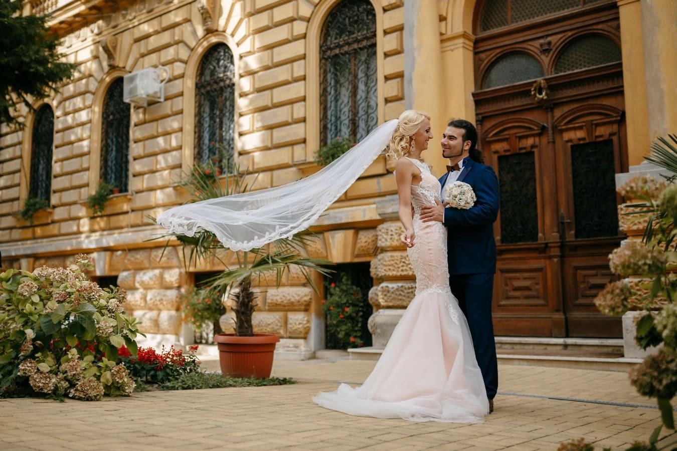 robe de mariée, jeune marié, tout juste marié, la mariée, bonne humeur, charme, mode, mariage, mariage, amour
