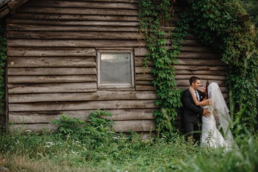 жена, младоженец, изоставени, булката, току-що женени, Бунгало, стена, дървен материал, къща, Момиче