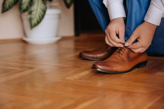casual, shoes, brown, leather, man, hands, shoelace, legs, parquet, floor