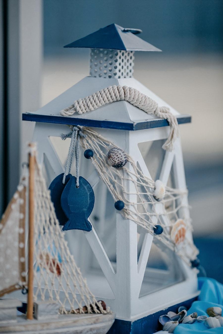 Laterne, Blau, aus Holz, handgefertigte, Dekoration, Seil, Holz, Miniatur, Detail, Knot