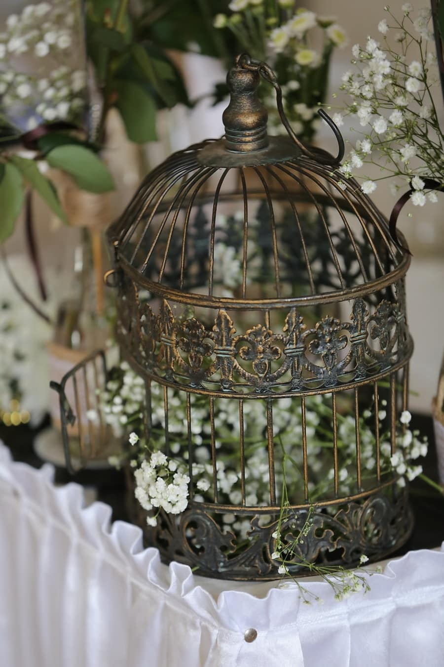 metal, fancy, cage, decoration, still life, flower, color, traditional, design, luxury