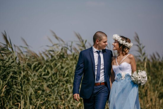 businessman, gorgeous, young woman, countryside, affection, outdoor, love, smile, wedding, groom