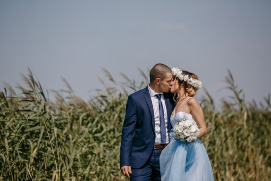 newlyweds, outdoor, kiss, agriculture, field, groom, love, wedding, couple, nature