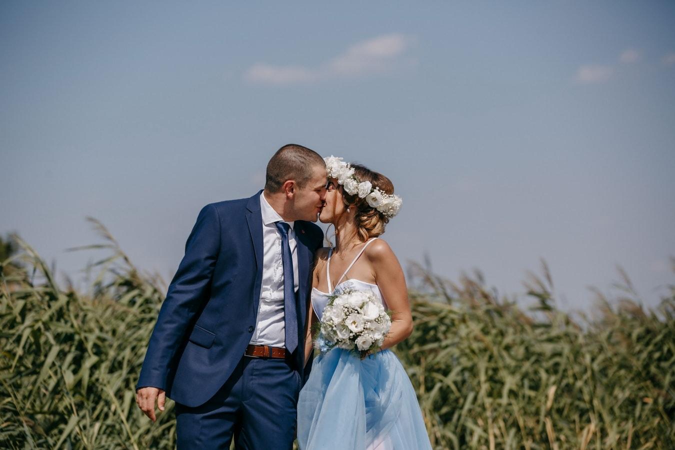 romantic, kiss, pretty girl, hugging, man, love, nature, bride, romance, summer