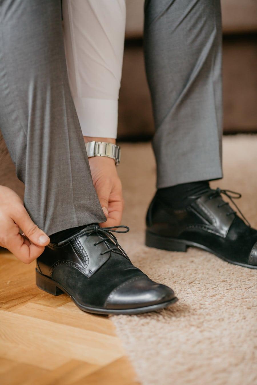 svart, skinn, shoelace, sko, fottøy, mann, dekker, par, mote, sko