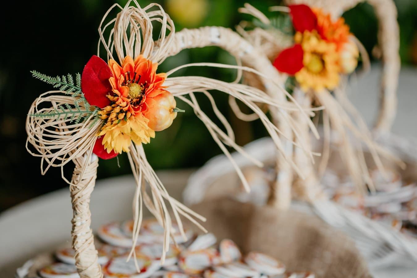 košara od pruća, ukrasno, ručni rad, mrtva priroda, cvijet, dekoracija, svijetlo, boja, tradicionalno, pogled iz blizine
