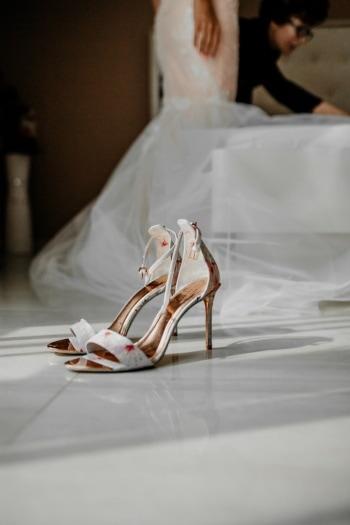 sandalo, scarpe, fantasia, matrimonio, vestito da sposa, sposa, camera da letto, moda, donna, ragazza