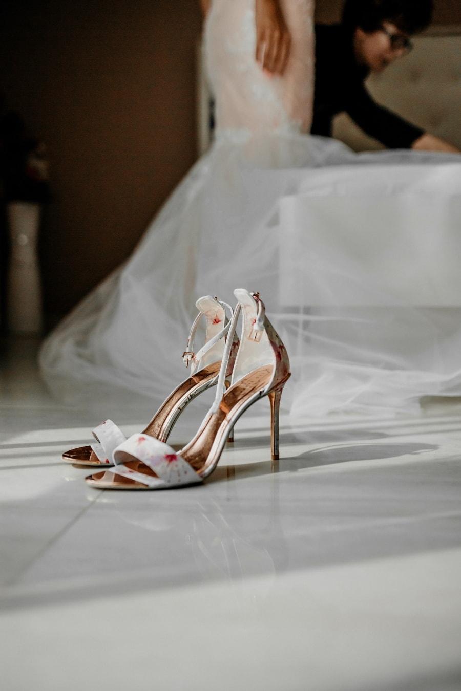 Sandale, Schuhe, Lust auf, Hochzeit, Hochzeitskleid, Braut, Schlafzimmer, Mode, Frau, Mädchen